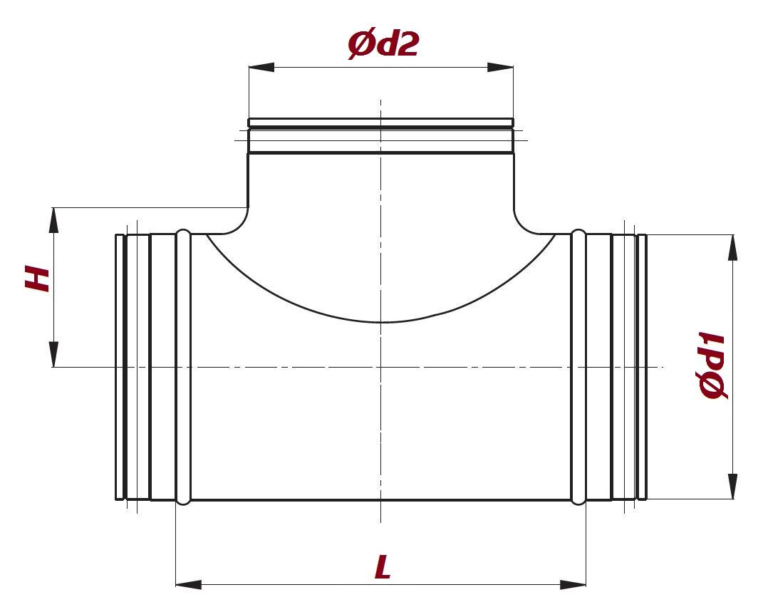 mit Doppellippendichtung Wickelfalzrohr T-Stück verschiedene Größen
