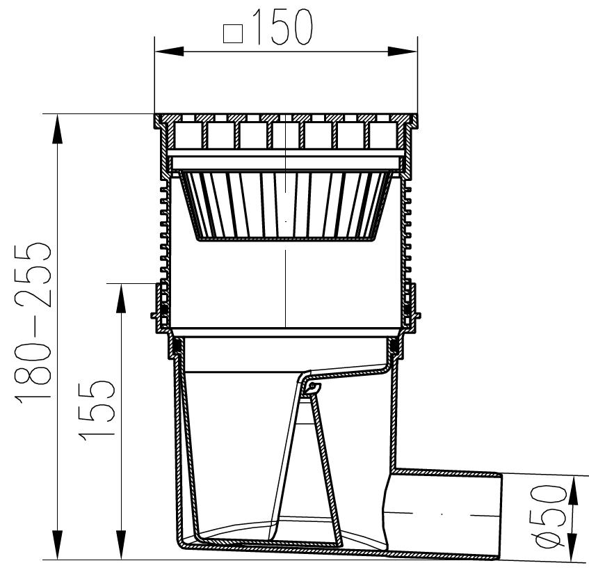bodenablauf mit siphon r ckstauklappe dn 50 14 90. Black Bedroom Furniture Sets. Home Design Ideas
