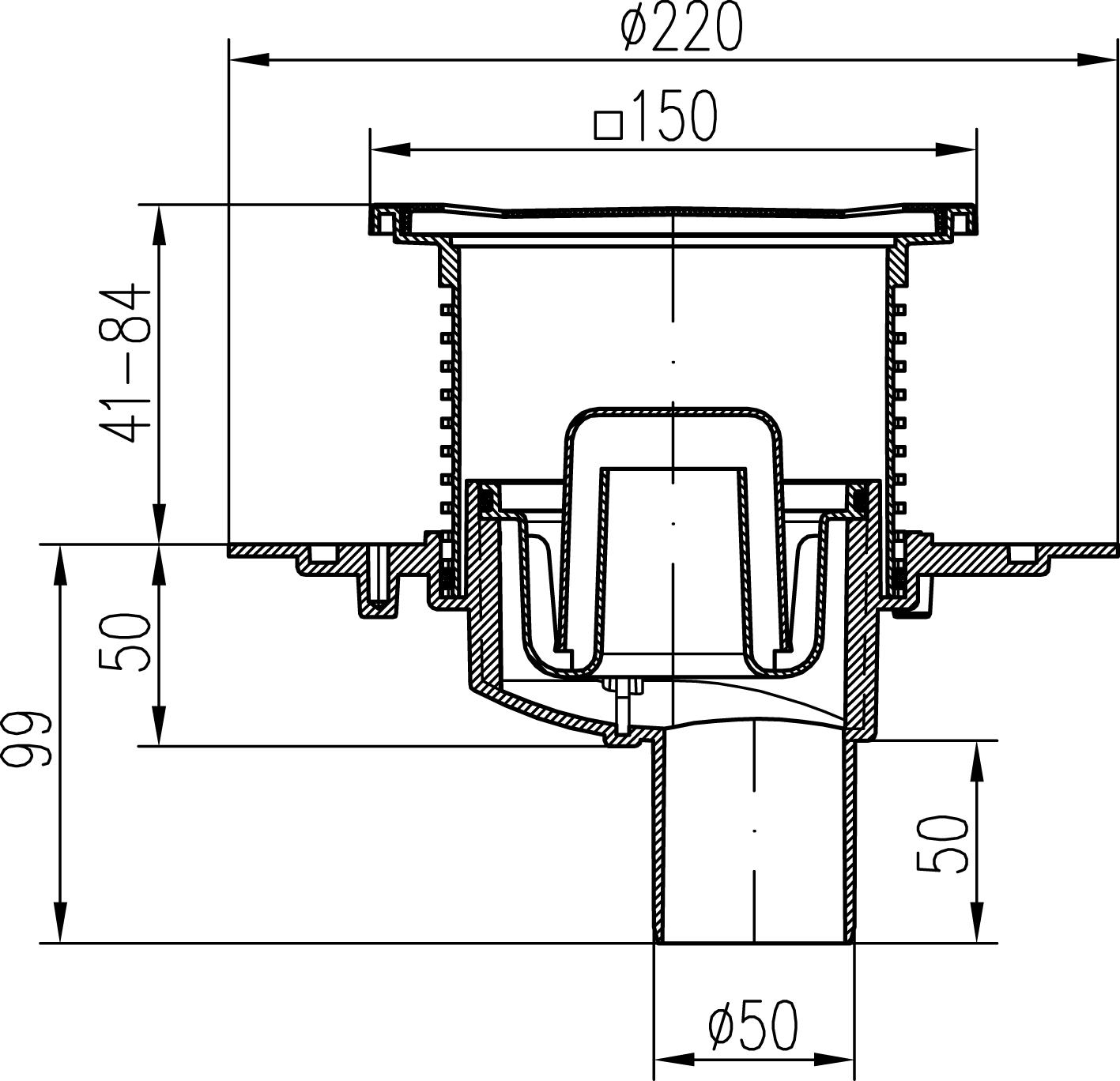 bodenablauf mit siphon r ckstauklappe dn 50 senkrecht 17 60. Black Bedroom Furniture Sets. Home Design Ideas