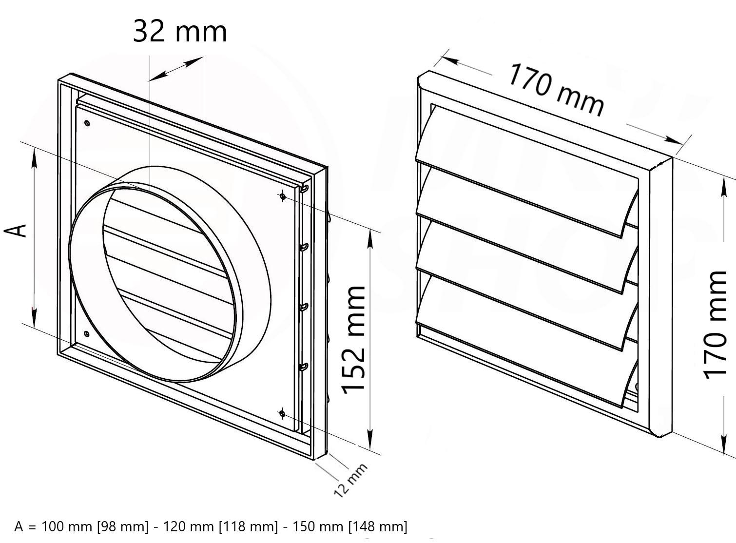 MKK L/üftungsgitter Lamellengitter Wetterschutz Kunststoff Abluft 170 x 170 mm eckig /Ø 120 mm wei/ß