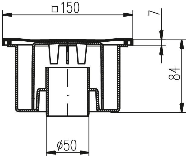 Ablaufgarnitur Dusche Senkrecht : Boden-Ablauf senkrecht 150 x 150 mm DN 50 Dusche Ablaufgarnitur Siphon