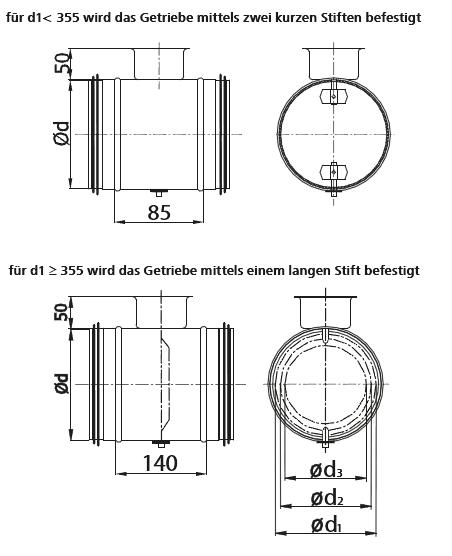 L/üftungsrohr Drosselklappe einstellbarer Luftdurchflussmenge mit Gummidichtung Doppellippendichtung Wickelfalzrohr Einstellbare Luftdurchflussmenge /Ø 250 mm