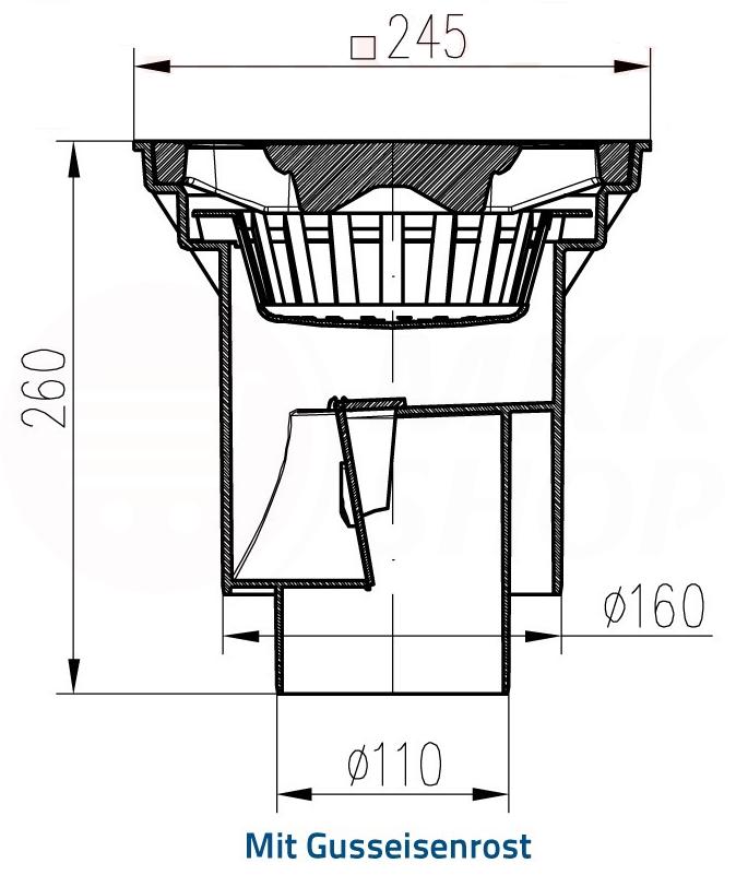 guss kunststoff hofablauf gartenablauf bodenablauf dn100. Black Bedroom Furniture Sets. Home Design Ideas