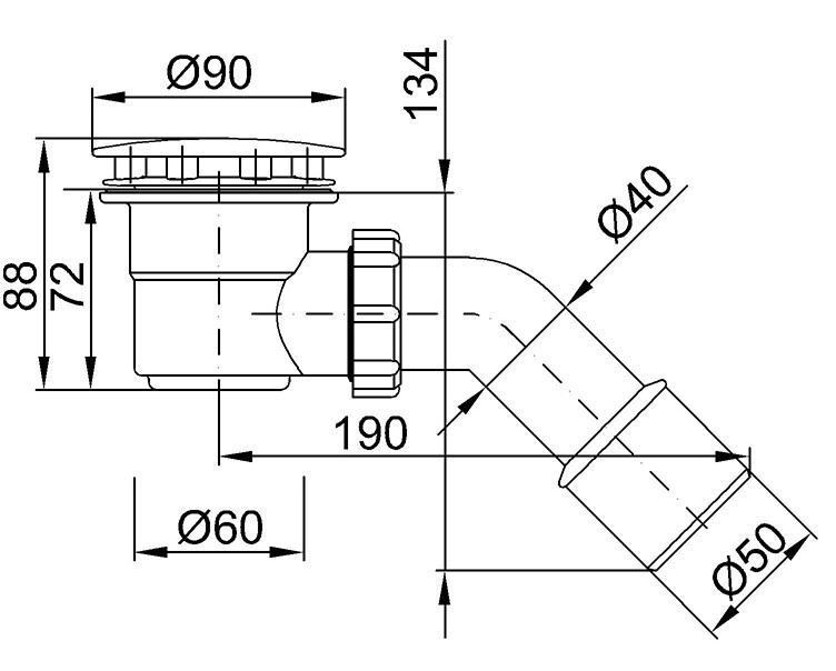 Technische Zeichnung Dusche : Technische Zeichnungen: ? 90 mm Abflussdeckel – Korpus ? 60 mm