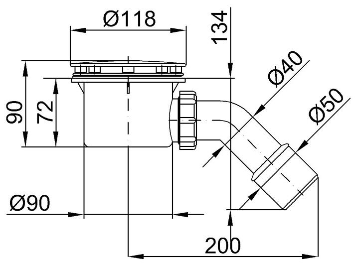 Technische Zeichnung Dusche : Technische Zeichnungen: ? 118 mm Abflussdeckel – Korpus ? 90 mm