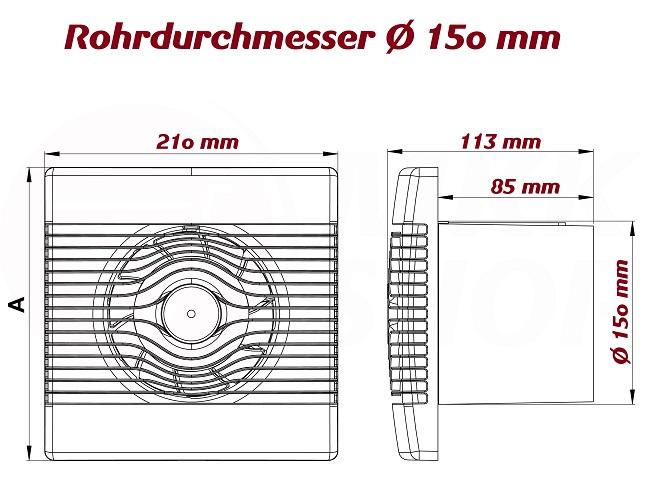 AirRoxy PRemium Hygrostat Timer Lüfter Raum Ventilator Bad
