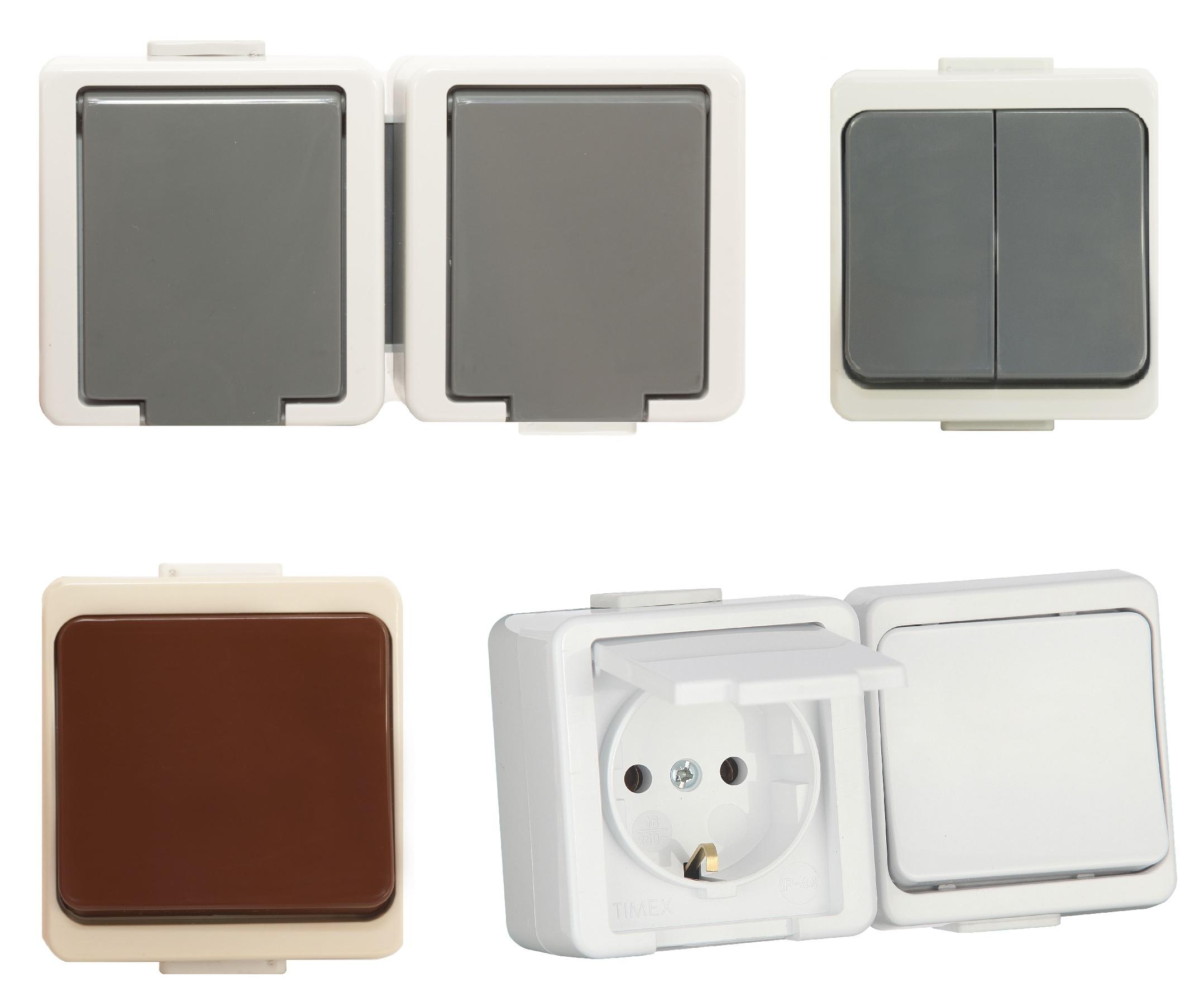 aufputzsteckdose ip44 16a 250v aufputz feuchtraum steckdose 1 fach 2 fach ap ebay. Black Bedroom Furniture Sets. Home Design Ideas